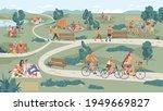 people in park leisure outdoor... | Shutterstock .eps vector #1949669827