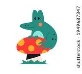 cute frog sitting on mushroom...   Shutterstock .eps vector #1949687347