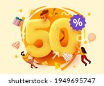 mega sale. 50 percent discount. ... | Shutterstock .eps vector #1949695747