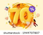 mega sale. 70 percent discount. ... | Shutterstock .eps vector #1949707807