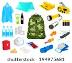 backpack and survival kit in... | Shutterstock .eps vector #194975681