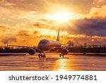 Airplane On Airport Runway...