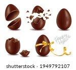 realistic chocolate eggs set ... | Shutterstock .eps vector #1949792107