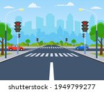 city crossroad with cars  road...   Shutterstock .eps vector #1949799277
