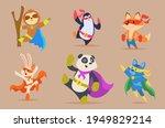 animals superhero. funny... | Shutterstock .eps vector #1949829214