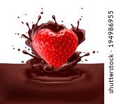 Raster version. Appetizing strawberry heart dipping into chocolate with splashes - stock photo