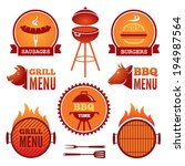 set of colored grill and bbq...   Shutterstock .eps vector #194987564