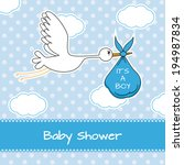 Stock vector baby boy arrival announcement card 194987834
