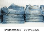 lot of different blue jeans in... | Shutterstock . vector #194988221