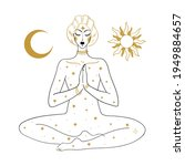 the woman is meditating ... | Shutterstock .eps vector #1949884657