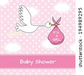 baby girl arrival announcement... | Shutterstock .eps vector #194989295