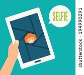 taking a selfie photo  vector   Shutterstock .eps vector #194990291