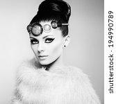 Glamour women in fur cape. Fashion photo - stock photo