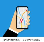 male hand holding phone with... | Shutterstock .eps vector #1949948587