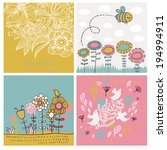 Set Of Four Cute Spring Cards...