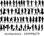 women silhouettes.   Shutterstock .eps vector #194998679