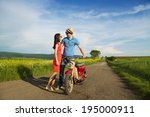 couple in love with motorbike | Shutterstock . vector #195000911