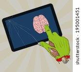 zombie tablet   hand draw ... | Shutterstock .eps vector #195001451