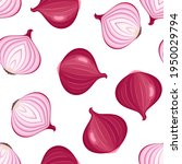 seamless pattern with red onion.... | Shutterstock .eps vector #1950029794