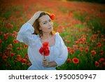 Beautiful Girl In Poppy Field....