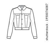 cropped denim jacket technical...   Shutterstock .eps vector #1950076087