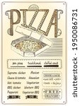 pizza menu mockup with whole... | Shutterstock .eps vector #1950086731