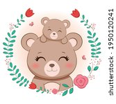 cute mommy bear and baby bear | Shutterstock .eps vector #1950120241