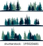set of different silhouettes of ... | Shutterstock .eps vector #195020681