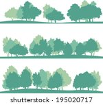 set of different silhouettes of ... | Shutterstock .eps vector #195020717