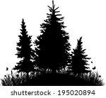 fir trees on a hill with grass... | Shutterstock .eps vector #195020894