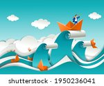 businessman in boat on the top... | Shutterstock .eps vector #1950236041