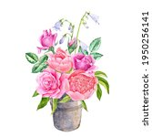 watercolor drawing bouquet of... | Shutterstock . vector #1950256141