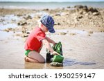 Little Boy Playing With Green...