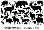 twenty-seven forest animal silhouettes on the white background - stock vector