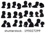 silhouette loving couple  kiss... | Shutterstock .eps vector #195027299