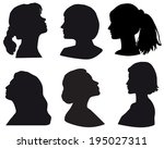 silhouette of a girls head  in... | Shutterstock .eps vector #195027311
