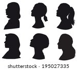 set of silhouettes of a girls... | Shutterstock .eps vector #195027335