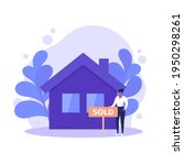 real estate agent with sold... | Shutterstock .eps vector #1950298261