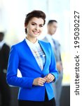 business woman with her staff ... | Shutterstock . vector #195030227