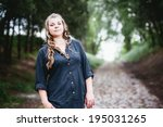 fat girl outdoor. portrait of... | Shutterstock . vector #195031265