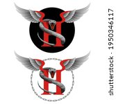capital letter h with snake for ... | Shutterstock .eps vector #1950346117