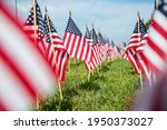 Hundreds Of American Flags...