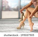 golden shoes of heels  | Shutterstock . vector #195037505