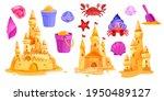 sand castle vector summer beach ... | Shutterstock .eps vector #1950489127