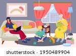 family eat meal at home  vector ...   Shutterstock .eps vector #1950489904