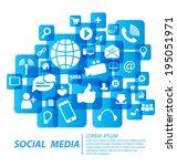 social media concept vector... | Shutterstock .eps vector #195051971