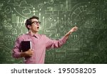 young funny man in glasses... | Shutterstock . vector #195058205