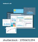 dashboard. graphs. theme... | Shutterstock .eps vector #1950651394