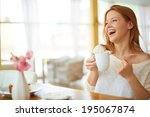 image of young and pretty woman ... | Shutterstock . vector #195067874