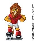 lion mascot for soccer... | Shutterstock .eps vector #1950724594